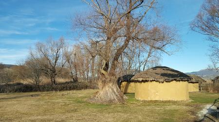 The prehistoric lakeside settlement of Dispilio, near Orestiada lake ( Kastoria, Greece) Stock Photo