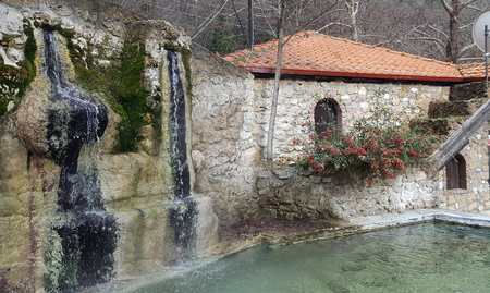 Waterfall and pool at Loutra Pozar of Aridaia in Macedonia, Greece Banco de Imagens