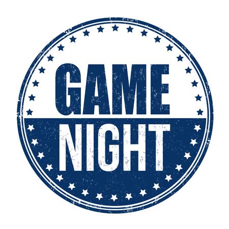 Game night grunge rubber stamp Illustration