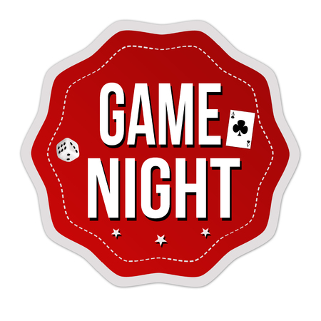 Game night label or sticker