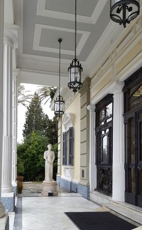 CORFU, GREECE- January 21, 2018: Achilleion palace of Empress of Austria Elisabeth of Bavaria in Corfu island, Greece Editorial