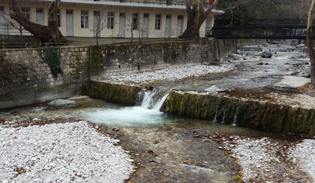 River and waterfall with at Loutra Pozar of Aridaia in Macedonia, Greece
