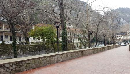 The most beautiful promenade in Loutra Pozar, near Termopotamos river in Greece