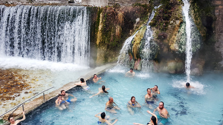 PELLA - MACEDONIA GREECE, January 17 2018: Loutra Pozar baths known as natural hot springs thermal baths in on January 17 2018 in Loutra Pozar, Greece