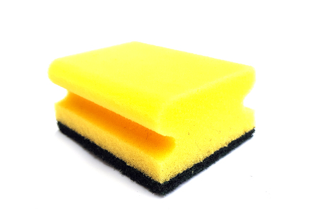 Kitchen sponge on white background