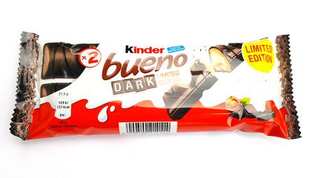 THESSALONIKI, GREECE -  FEBRUARY 02, 2018 : Kinder Bueno dark, limited edition chocolate bar on white background. Kinder Bueno is a chocolate bar, a very popular dessert for children, made by Italian confectionery maker Ferrero.