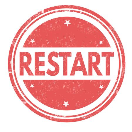 Restart grunge rubber stamp on white background, vector illustration.