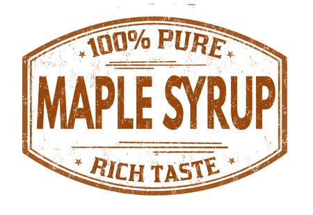 Maple syrup grunge rubber stamp on white background, vector illustration Stock Illustratie
