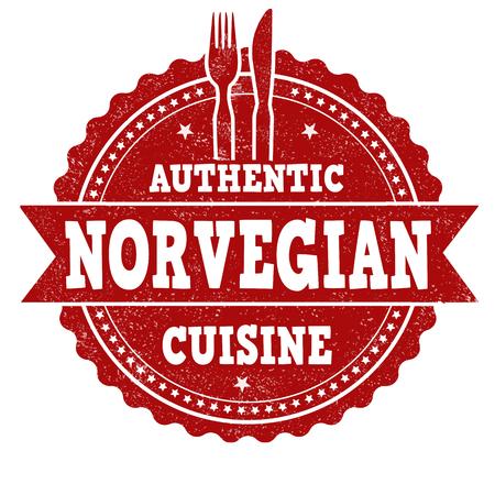 Authentic norvegian cuisine grunge rubber stamp on white background, vector illustration