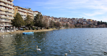 Scenic view of Kastoria town and the famous Orestiada lake in Greece Stock Photo