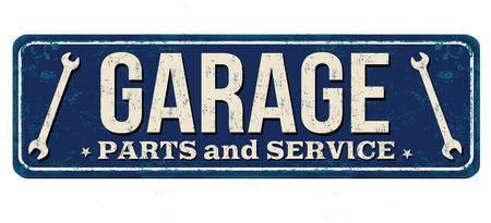 Garage vintage rusty metal sign on a white background, vector illustration Çizim