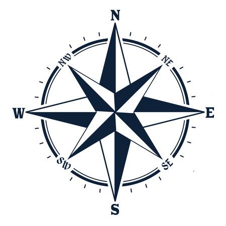 Ikona kompasu na białym tle. Róża wiatrów, ilustracji wektorowych Ilustracje wektorowe