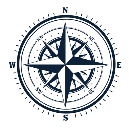 Compass icon on white background. Rose of Wind, vector illustration 矢量图像