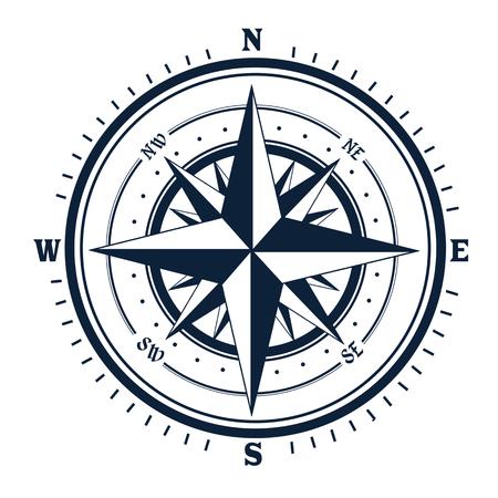 Icône de boussole sur fond blanc. Rose du vent, illustration vectorielle