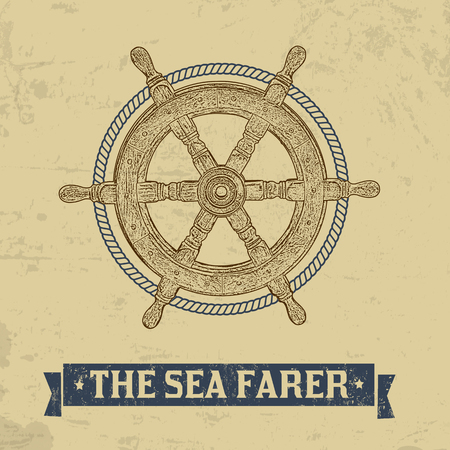 The sea farer concept. Nautical helm wheel with rope on retro background, vector illustration Illustration