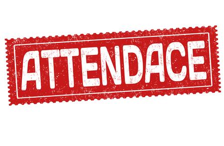Attendance grunge rubber stamp on white background, vector illustration