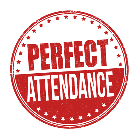 Perfect attendance grunge rubber stamp on white background, vector illustration
