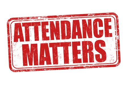 Attendance matters grunge rubber stamp on white background, vector illustration Illustration
