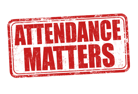 Attendance matters grunge rubber stamp on white background, vector illustration Vettoriali