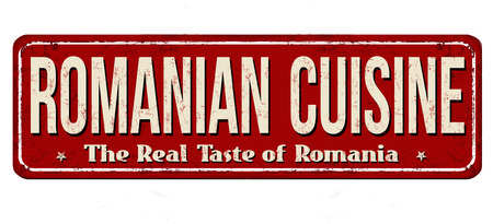 Romanian cuisine vintage rusty metal sign on a white background, vector illustration