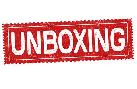Unboxing grunge rubber stamp on white background, vector illustration Illustration