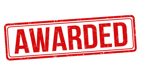 Awarded grunge rubber stamp on white background, vector illustration
