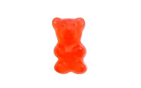 Red gummy bear on white background Stock Photo