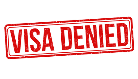 Visa denied grunge rubber stamp on white background, vector illustration