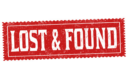 Lost and found grunge rubber stamp on white background, vector illustration