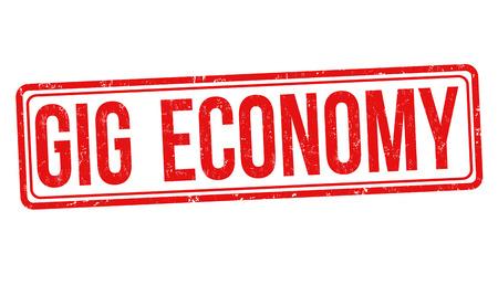 Gig économie tampon en caoutchouc grunge sur fond blanc, illustration vectorielle