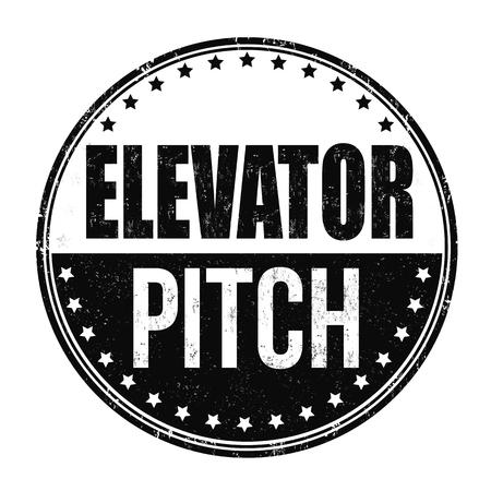 Elevator pitch grunge rubber stamp on white background, vector illustration