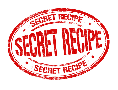 Secret recipe grunge rubber stamp on white background, vector illustration