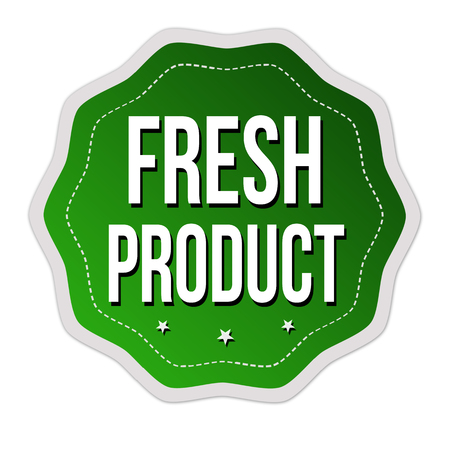Fresh product label or sticker on white background, vector illustration