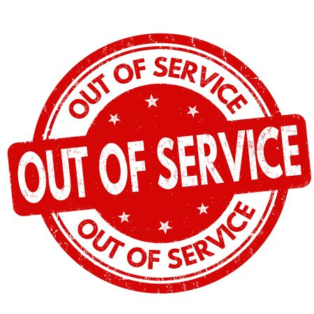 Out of service grunge rubber stamp on white background, vector illustration