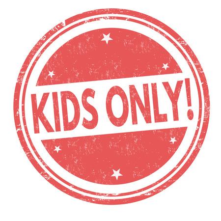 Kids only grunge rubber stamp on white background. Иллюстрация