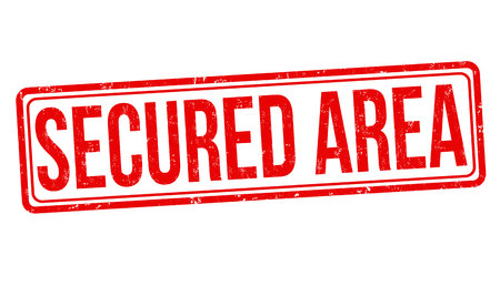Secured area grunge rubber stamp on white background, vector illustration Ilustrace