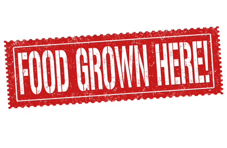 Food grown here grunge rubber stamp on white background, vector illustration.