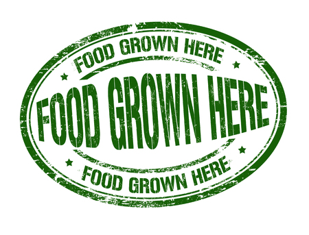 Food grown here grunge rubber stamp on white background, vector illustration. Banque d'images - 98755681