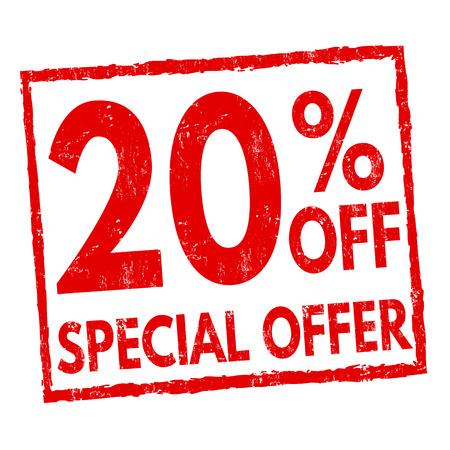 Special offer 20% off grunge rubber stamp on white background, vector illustration Stock Illustratie