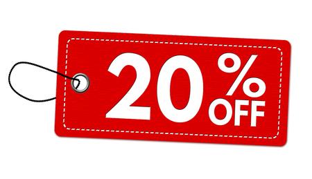 Oferta especial 20% de descuento en etiqueta o etiqueta de precio sobre fondo blanco, ilustración vectorial Ilustración de vector