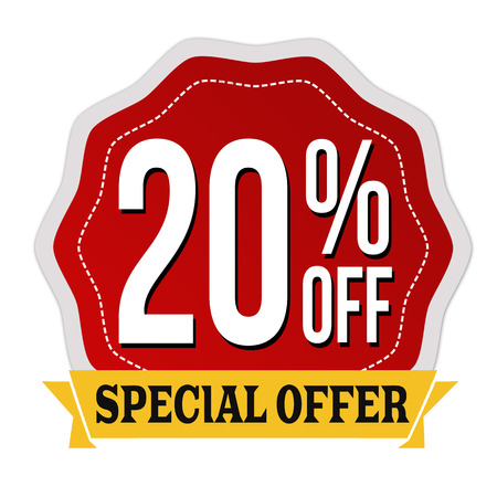 Special offer 20% off label or sticker on white background, vector illustration