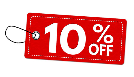 Special offer 10% off label or price tag on white background, vector illustration