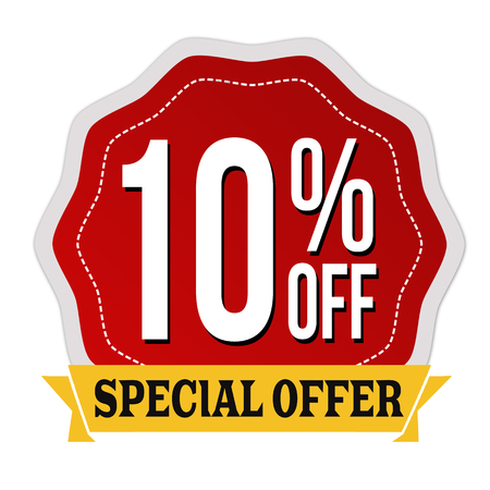 Special offer 10% off label or sticker on white background, vector illustration