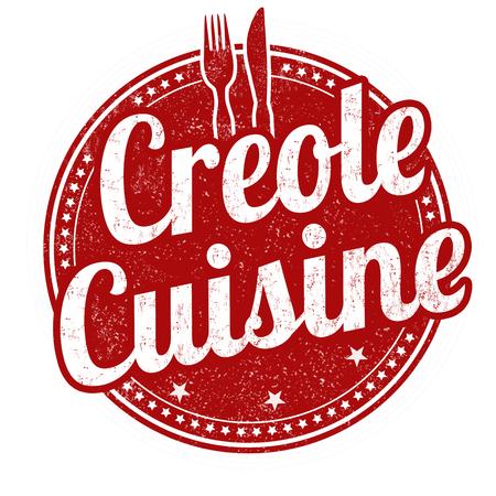 Creole cuisine grunge rubber stamp on white background, vector illustration Illusztráció