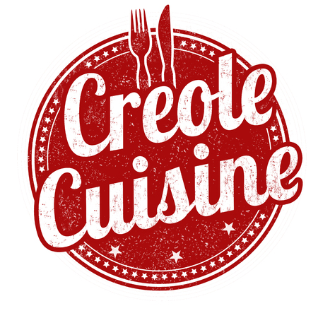 Creole cuisine grunge rubber stamp on white background, vector illustration Illustration