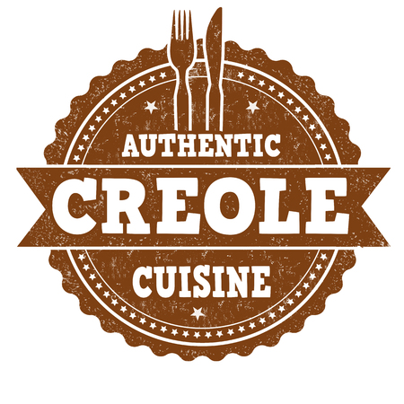 Authentic creole cuisine grunge rubber stamp on white background, vector illustration Illustration