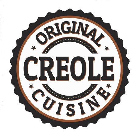 Original creole cuisine label or stamp on white background, vector illustration