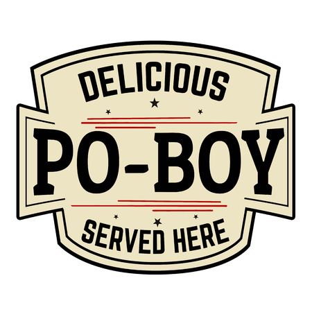 Delicious Po-Boy label or icon  on white background, vector illustration