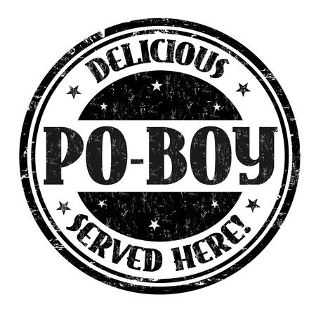Delicious Po-Boy sign or stamp on white background, vector illustration Illustration
