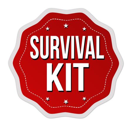 Survival kit label or sticker on white background, vector illustration